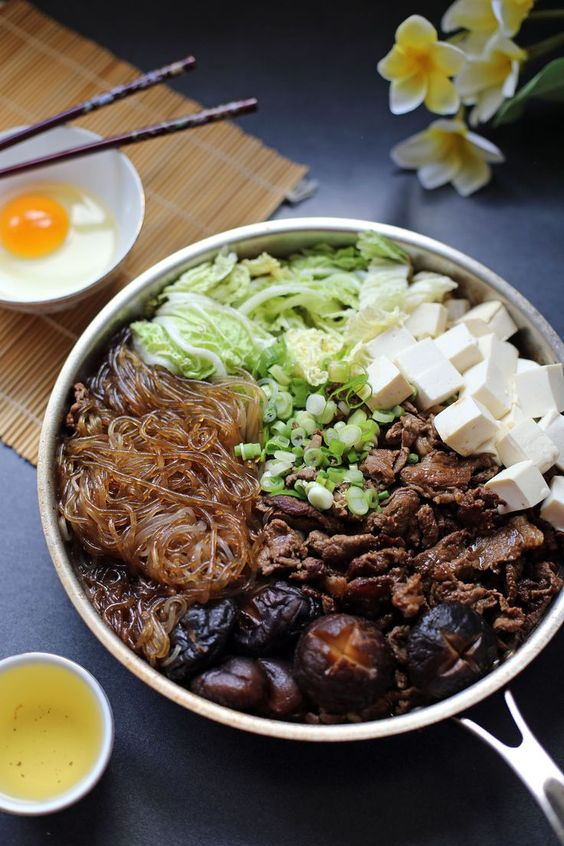 sukiyaki japanese beef pot japanese food and recipes on the side