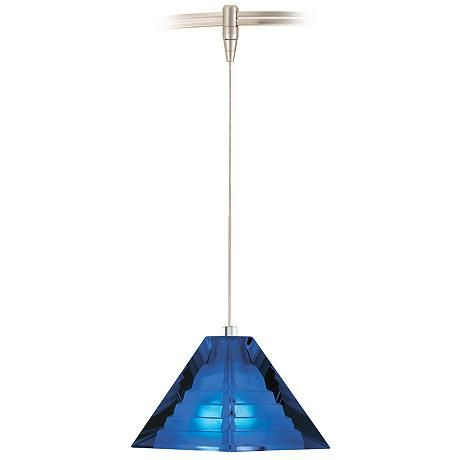 This classic pyramid shape, modern pendant light is constructed of striking cobalt pressed glass with a subtle step pattern inside.