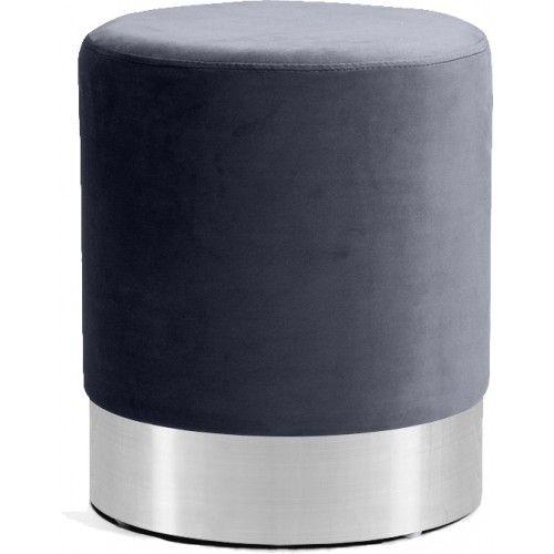 Grey Round Velvet Ottoman Footstool Silver Base Velvet Ottoman