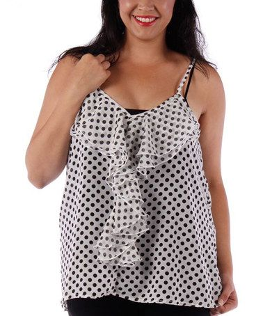 Look what I found on #zulily! White & Black Sheer Polka Dot Tank - Plus by Yummy #zulilyfinds