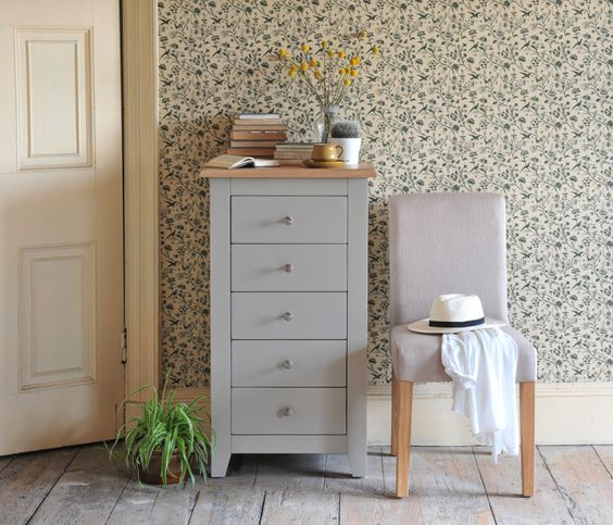 Chester Grey Chest of Drawers With Linen Chair, bedroom, grey furniture, vintage wallpaper, oak floorboards, dream home