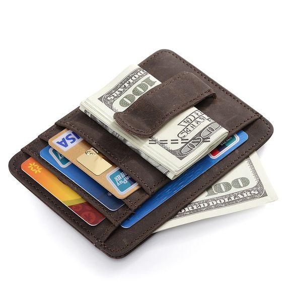Männer Crazy Horse Leder-Geld-Clip Fronttasche Mappe Identifikation-Kartenhalter #teemzone #MoneyClipWallet