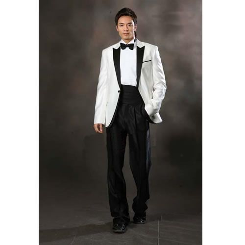 Mens Fancy White Slim Fit Retro Vintage Wedding Prom Dress Suit
