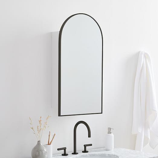 Medicine Cabinet Mirror, Metal Framed Recessed Bathroom Medicine Cabinet With Mirror Black