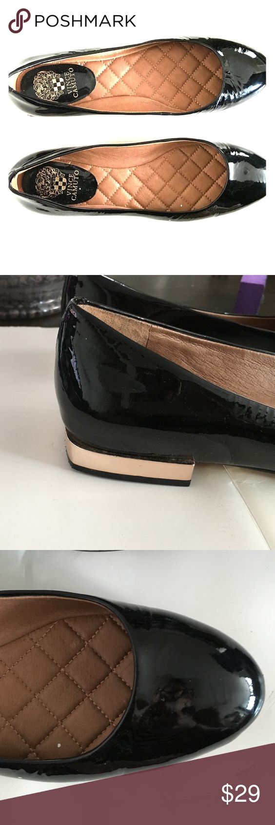 Patent leather Vince Camuto flats with gold heel Lightly worn flats with quilted insole and gold heel Vince Camuto Shoes Flats & Loafers