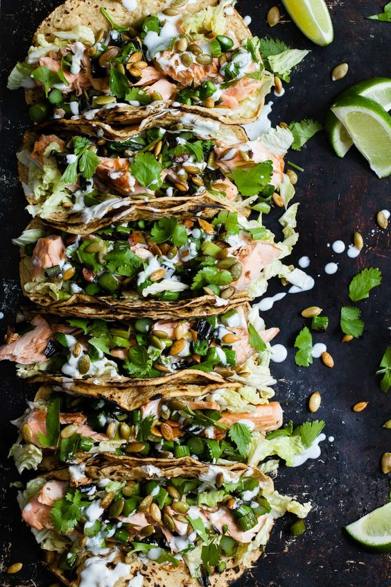 Salmon Tacos with Green Onion & Asparagus Salsa: