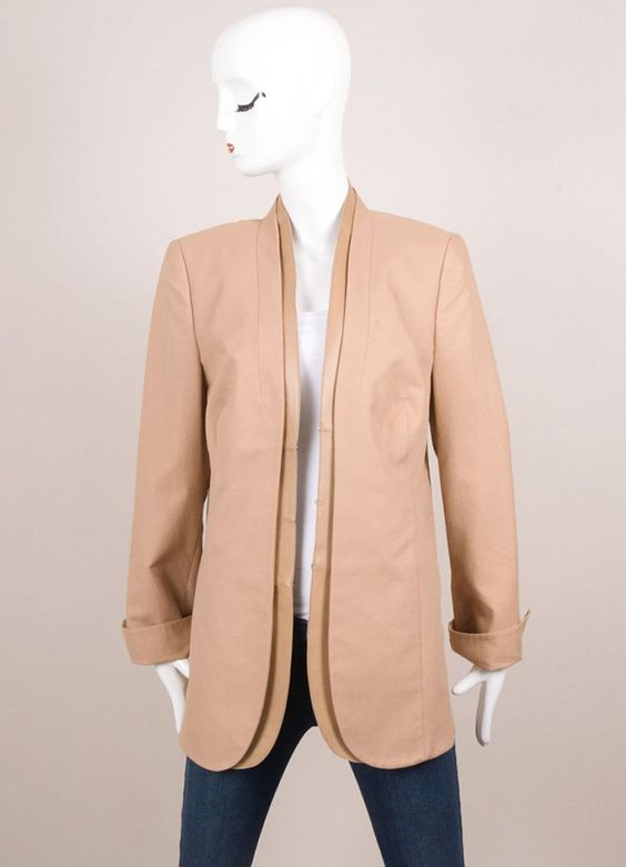 New With Tags Tan Knit Leather Trim Long Sleeve Blazer