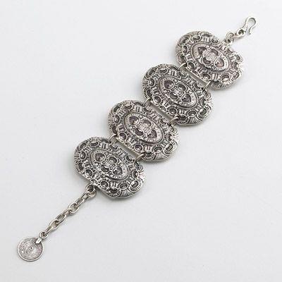 Turkish collection, base metal. 4 oval Ottoman inspired link bracelet. Hook fastener.www.christianlivingston.com