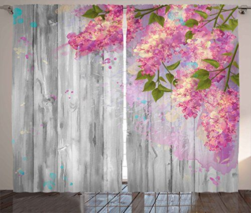 Flower Curtains By Ambesonne Floral Decor Watercolor Style Effect Branches Of Lilac On Wooden Background Print Living Roo Flower Curtain Window Drapes Curtains