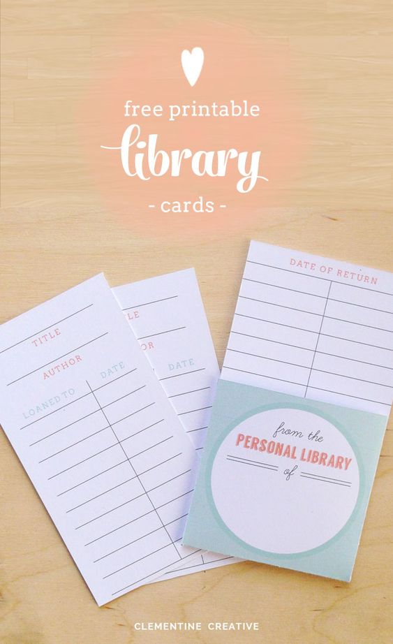 Free Printable Library Cards Creativo, Duchas y Libro - library card template
