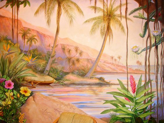 Just the beginning of the bliss to be had at the spa! Beautiful Mural in the Spa at Four Season Lanai at Manele Bay by Go Visit Hawaii, via Flickr  #Hawaii