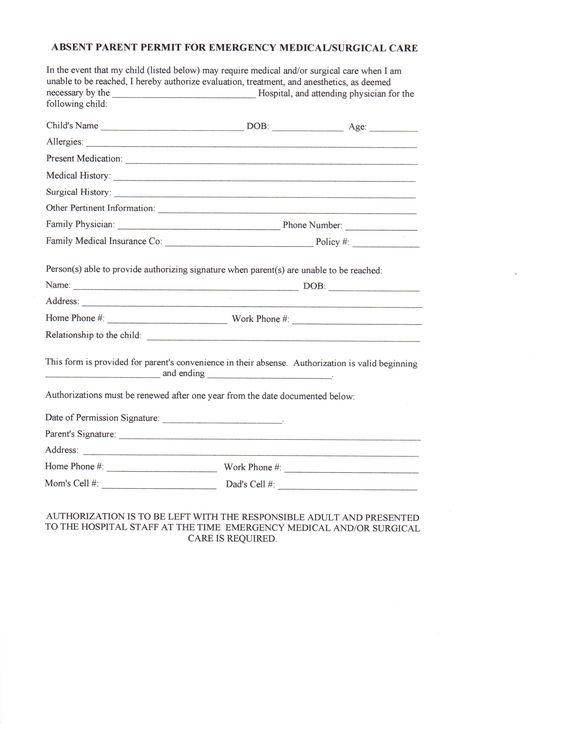 Amanda Thompson (amandapanda1001) on Pinterest - medical authorization release form