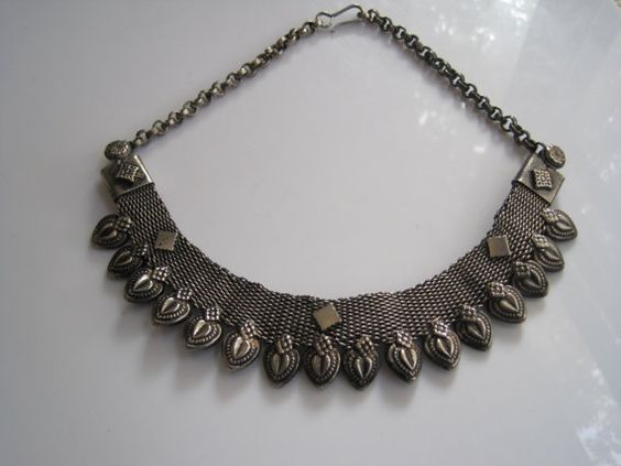Vintage Tribal Necklace  Mesh Necklace  Indian Choker Necklace by Anteeka Sold!