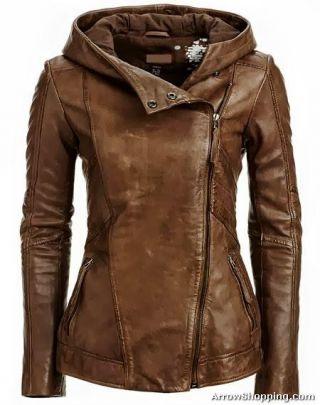 Arrow Women Brown Leather Jacket ikyt5 http://arrowshopping.com