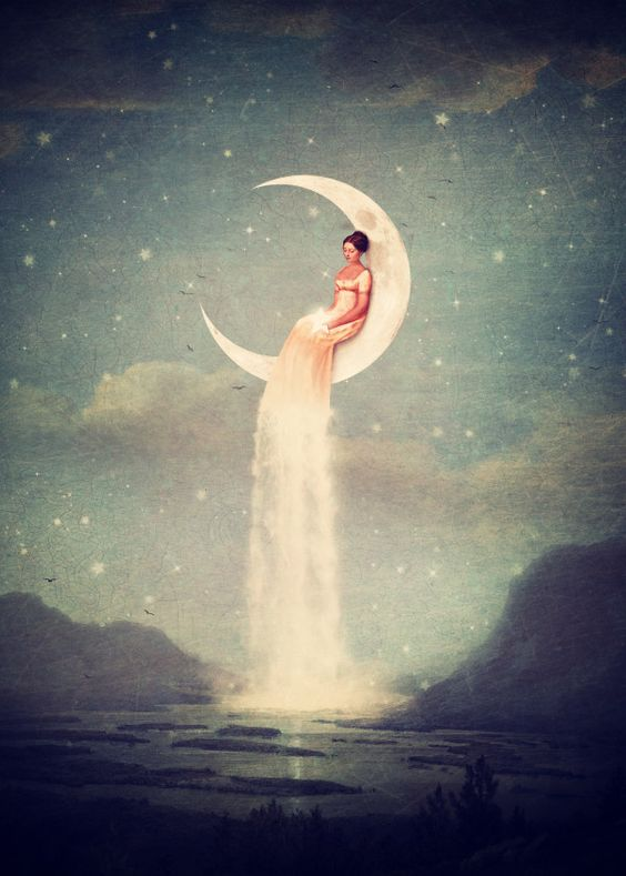 Displate Poster Moon River Lady - color variation moon #river #girl #romantic #sky #star #surreal