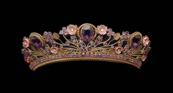 Antique Tiara (19th c.; amethysts, diamonds, enamel, and gold).: