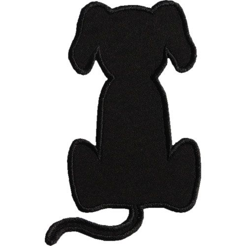 Dog Applique Designs | Sitting Dog Silhouette Applique Design