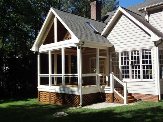 Screened deck decks and screened porches on pinterest for Shed roof screened porch plans
