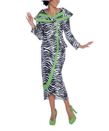 Look what I found on #zulily! Green & Zebra Button-Up Jacket & Skirt - Women & Plus by Divine #zulilyfinds