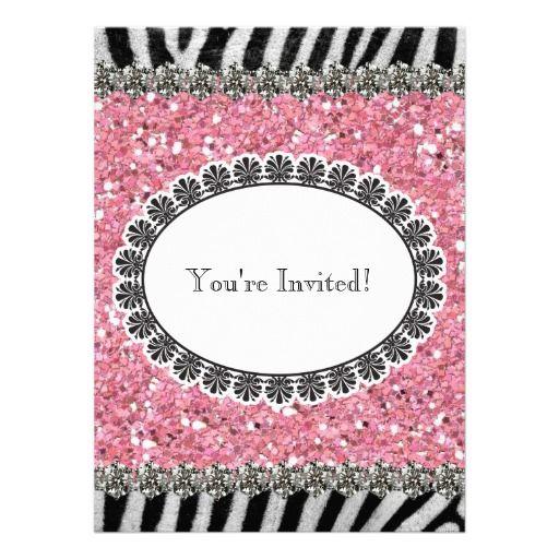 Zebra Stripe Pink Glitter Girl Birthday Invitation