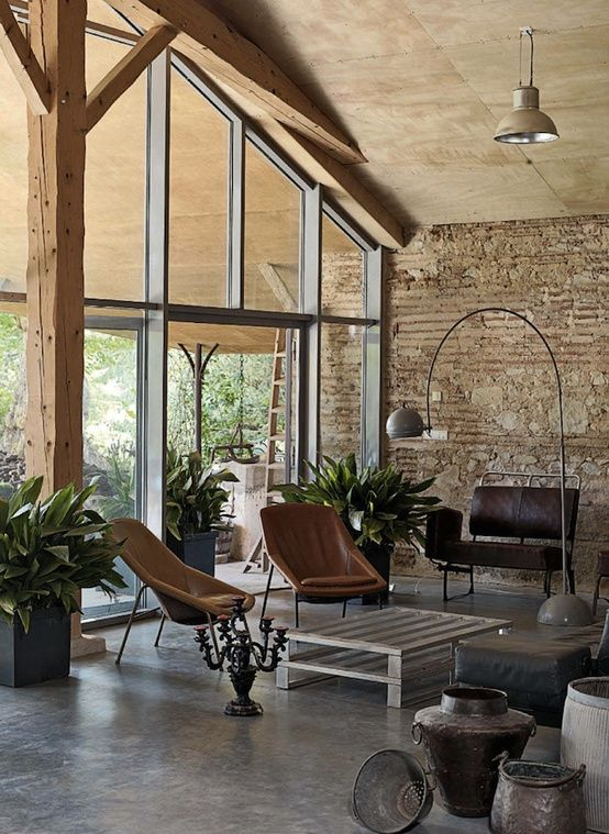 Living Room When Rustic Meets Modern ByStéphane Quatresous   Furniture not my style but Architecture I love
