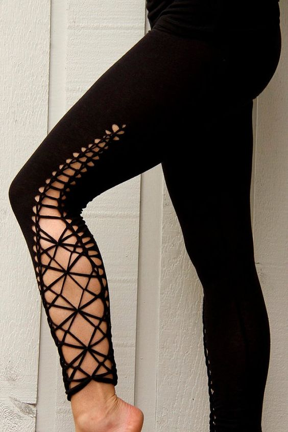 Spark up your yoga practice, dance the night away, or wander around town with these unique leggings. braided from middle thigh to ankle. super comfy and