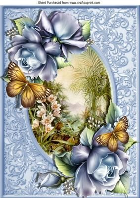 Early Morn Adorned with blue roses A4 on Craftsuprint - Add To Basket!: