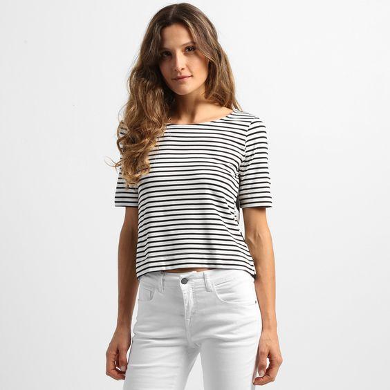 Blusa Cantão Cropped Listrada Preto e Branco | Zattini - A nova loja de moda online da Netshoes