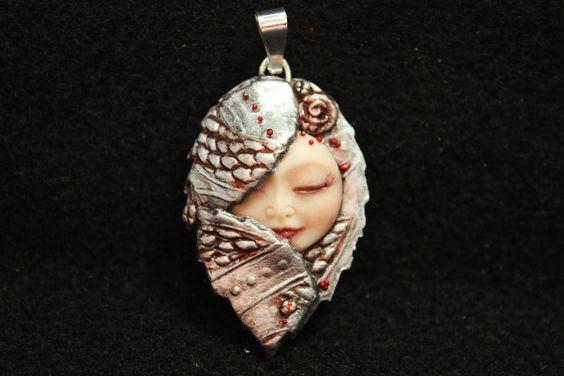 Fairy Pendant Moon Face Goddess Faux Silver Polymer Clay Bead.