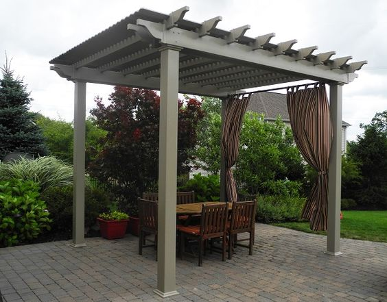 12x12 Urbana Pergola Clay Vinyl With Deluxe Shade Berlin