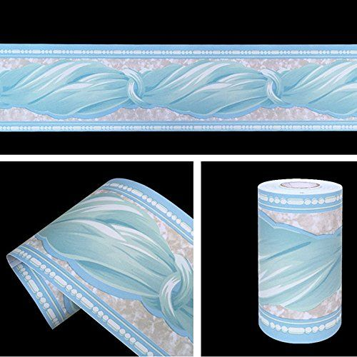 Lovefaye Blue Bowknot Pattern Removable Wallpaper Border Self Adhesive Stciker Kitchen Bathroom Wall D Bathroom Wall Decor Removable Wallpaper Wallpaper Border