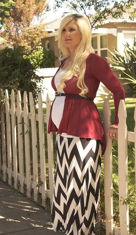 Heritwine Maternity. How to wear a maxi skirt in the Fall.  Cardigan $17.99 Black and White Chevron Maxi Skirt $14.99