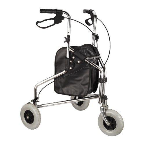 HomCom Folding Mobility Rollator Walker w/ 3 Wheels, Silver