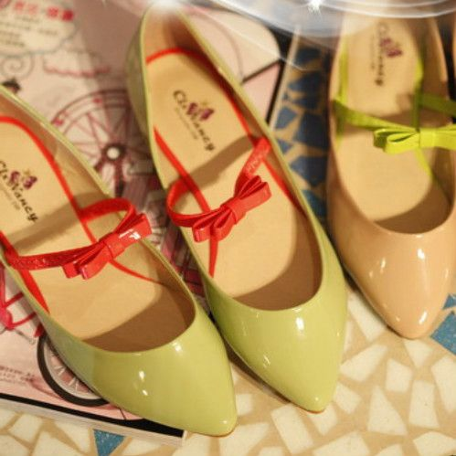 $15.23 candy-colored patent leather bow flat tip singles shoes- http://zzkko.com/book/shopping?index=1