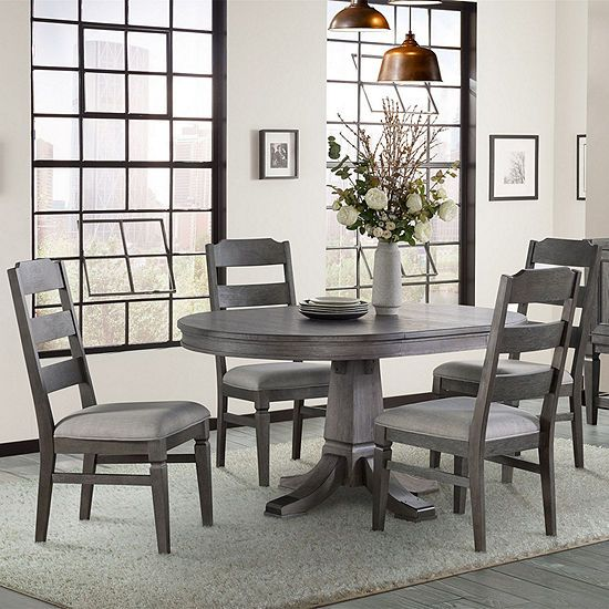 Foundry Round Table 5 Piece Dining Set With Ladder Back Chairs