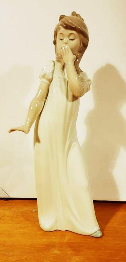 Nao Lladro figuirine of girl in nightdress yawning | lladro bargain ...