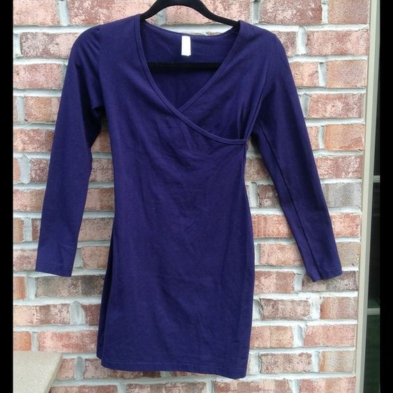NWOT American apparel purple long sleeve dress Super flattering fit // long sleeve // form fitting // hits above knee // also would work for small // next day shipping American Apparel Dresses Long Sleeve