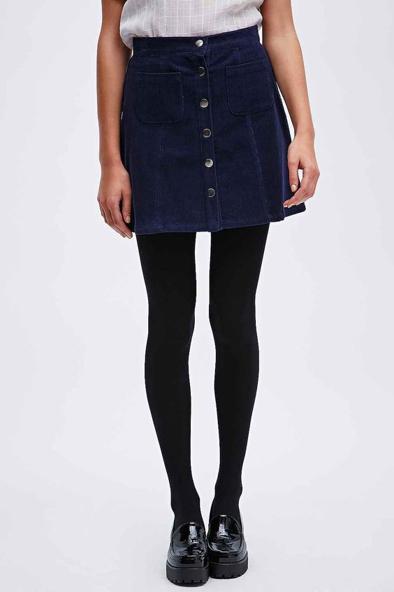 Black A Line Denim Skirt