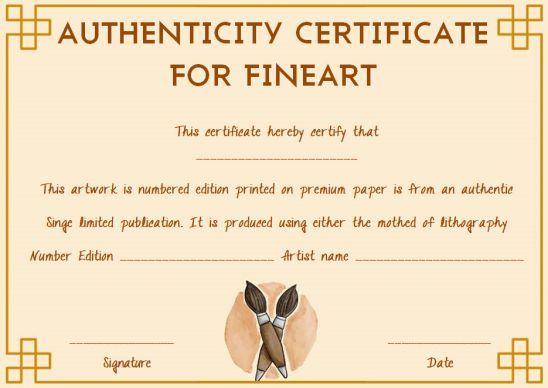 Fine Art Certificate Of Authenticity Template Free Art Certificate Certificate Name Signature