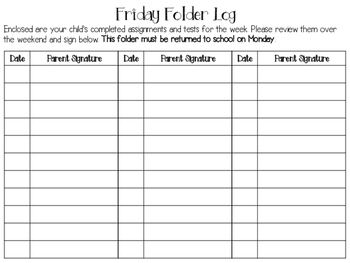 Free - Friday folder parent signature log                              …
