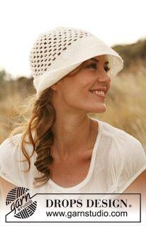 "Crochet DROPS hat in ""Lin"". ~ DROPS Design"