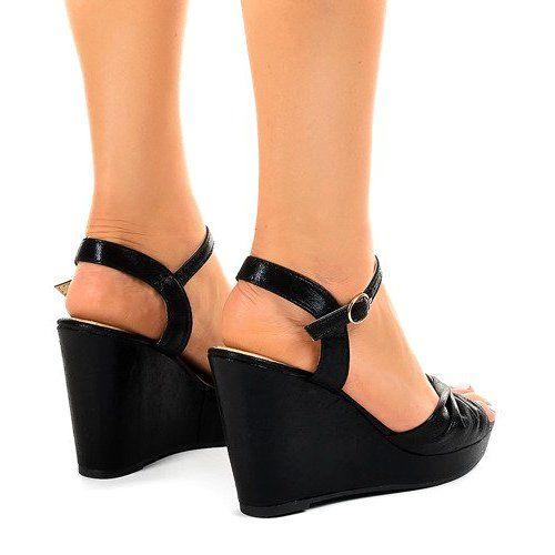 Czarne Sandaly Na Koturnie Blyszczace Jm M215m Wedge Sandals Womens Sandals Wedges Womens Sandals