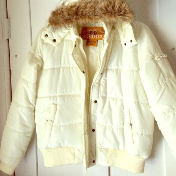 girls off-white Winter coat girls medium off white winter coat ...