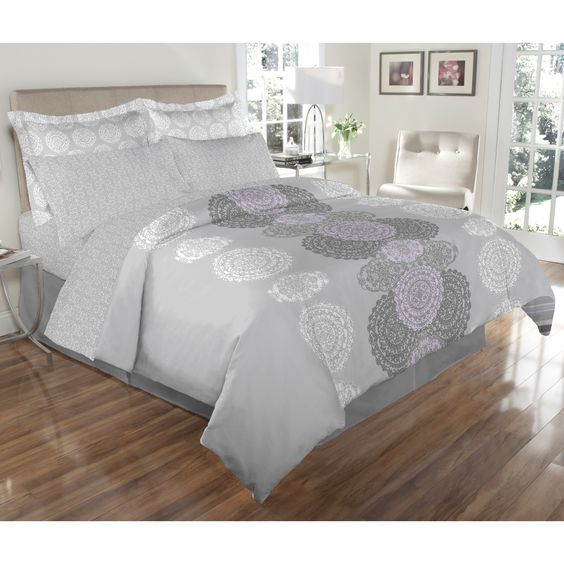 Elite Avery Reversible and Lilac 8-piece Bed In A Bag