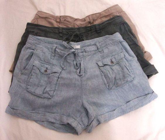Ann Taylor Loft 3 LOT Linen Beach Shorts Cuff Drawstring Khaki Blue Tan Women 14 #AnnTaylorLOFT #CasualShorts