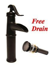 oil rubbed bronze vessel sink faucet with drain