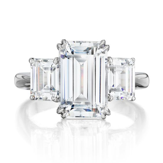 """""""Chloe"""" handmade three-stone platinum engagement ring with 3.47 carat total weight emerald-cut center diamond ring and emerald cut side stones, Leo Ingwer"""