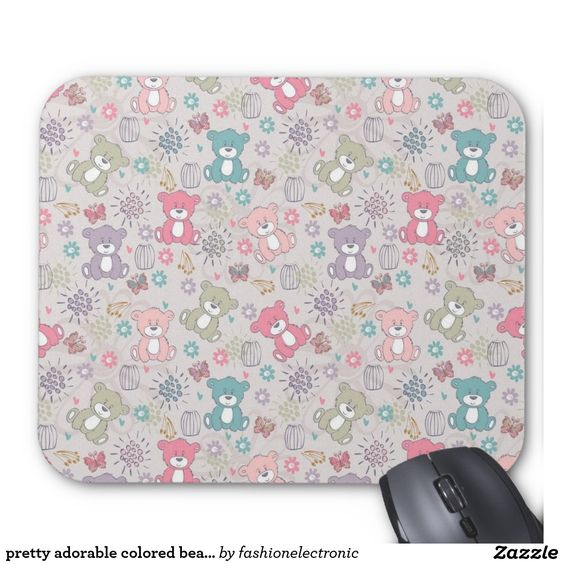 pretty adorable colored bears mouse pad
