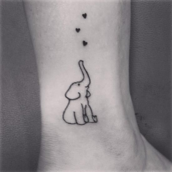 Small Elephant Outline Ankle Tattoo: