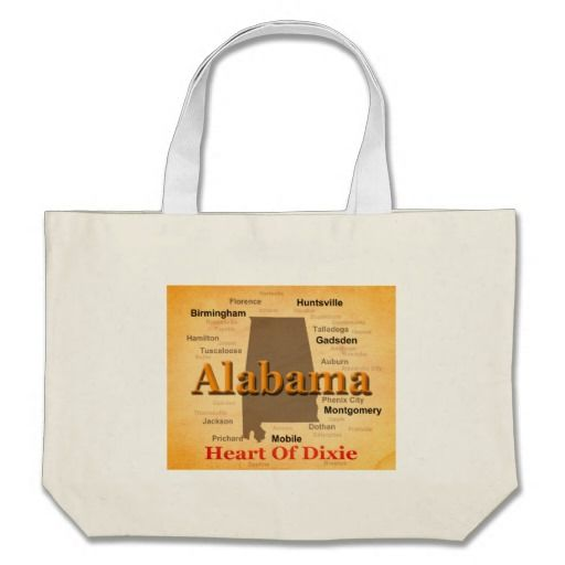 Aged Alabama State Pride Map Silhouette Bag